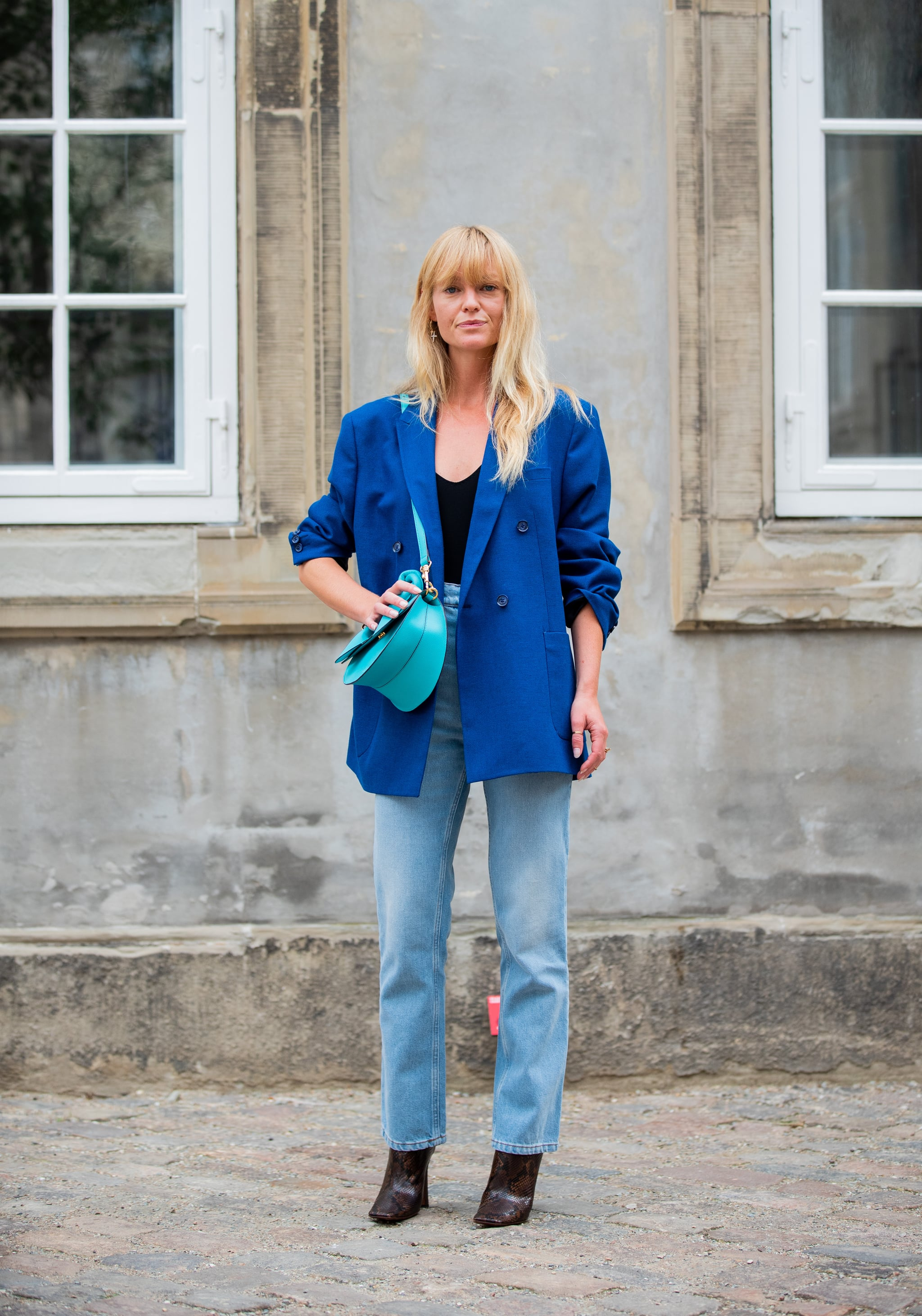 Fall Outfit Idea Blue Blazer Jeans Snake Print Boots 24 Outfits That Will Change The Way You Dress For Fall Popsugar Fashion Photo 10