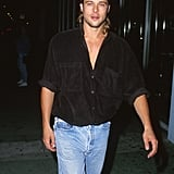 Brad hid his longer locks under a backward baseball cap during a night out in LA in January 1992.