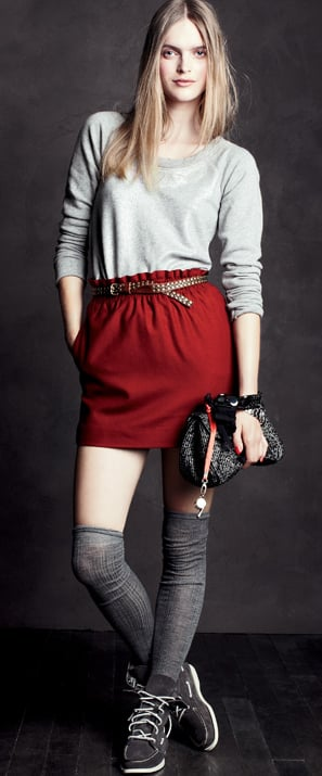 I love everything about this ensemble, especially that bold red skirt, paired with the soothing gray.