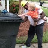 Little Boy Helping Garbage Man