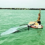 Bar Refaeli hit the water for windsurfing.  Source: Instagram user barrefaeli