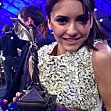 The Perks of Being a Wallflower star Nina Dobrev was all smiles holding up the film's Spirit Award.  Source: Nina Dobrev on WhoSay