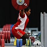 Citra Febrianti of Indonesia lifting some serious weights during a practice session.