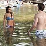 But after having her memory wiped, vampire Elena really starts coming out of her shell, even going to lake parties with her brother.