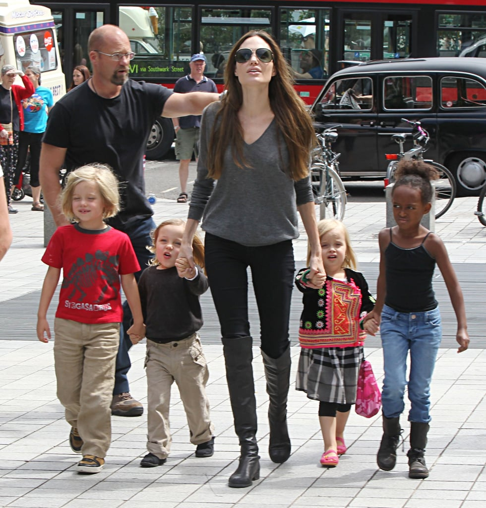 Angelina Jolie goes to an aquarium with Knox, Vivienne, Shiloh, and Zahara.