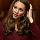 Kate Middleton wore her hair down for the event.