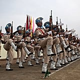 The Indian Central Reserve Police Force lined up to march during a parade in which they took their oath to serve India on Thursday.