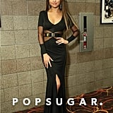 Selena Gomez showed skin in a black number.