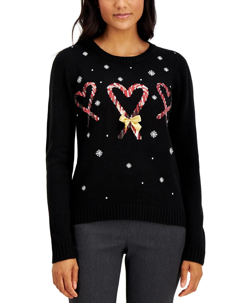 Karen Scott Sequin Candy Cane Heart Sweater