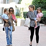 Sarah Jessica Parker got a hand as she traded off carrying Marion Broderick and Tabitha Broderick.