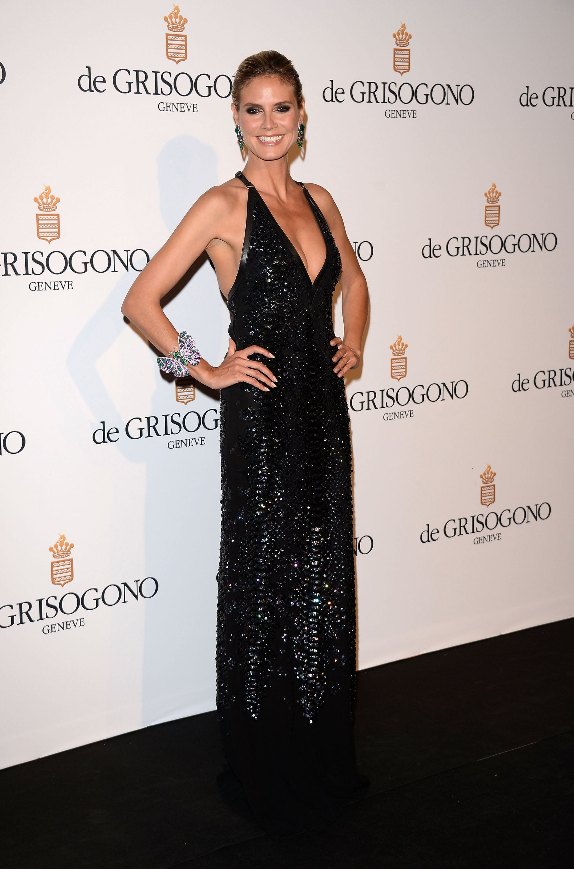 Heidi Klum in a Black-Sequined Roberto Cavalli at the 2012 Cannes Film Festival
