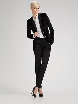 A sleek, masculine tuxedo jacket.