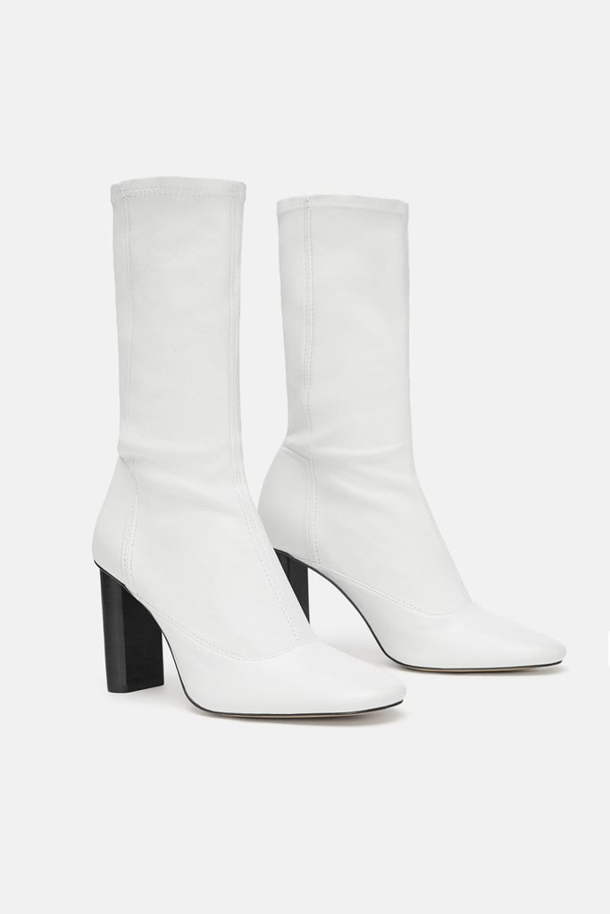 recognized brands huge sale on wholesale Zara Leather Heeled Ankle Boots   Miley Cyrus White Boots ...