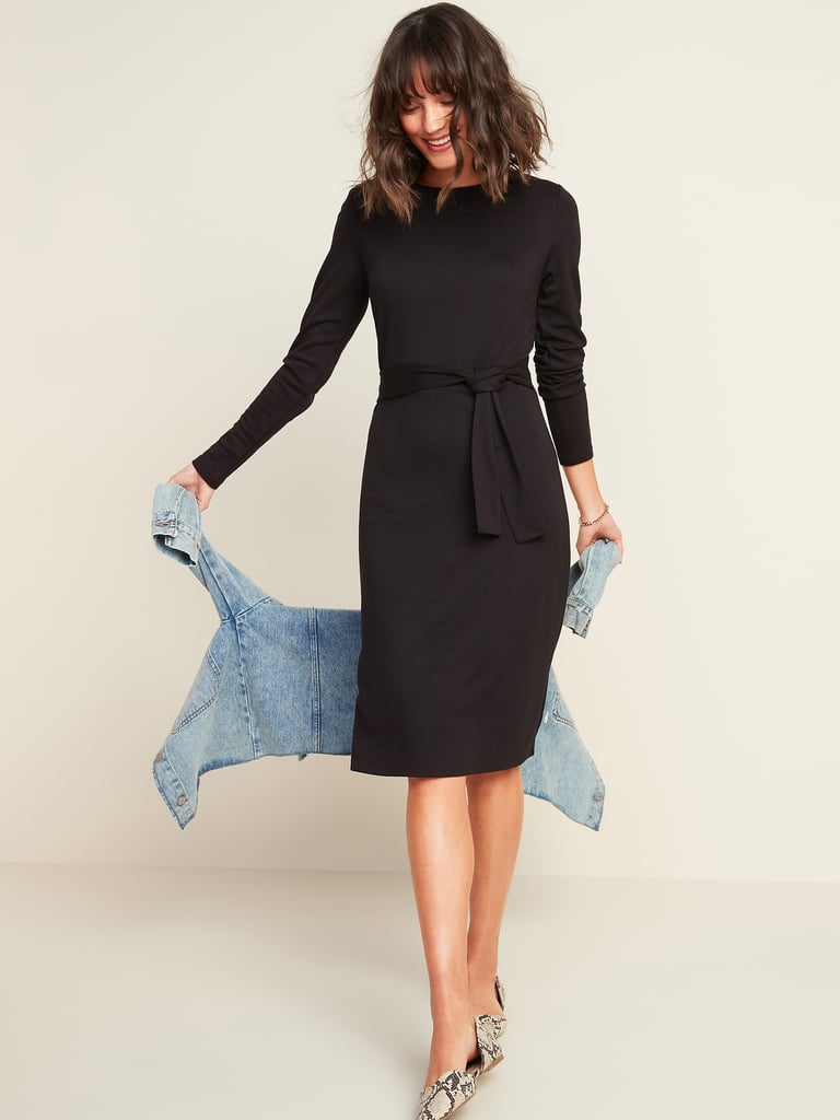 Jersey-Knit Tie-Waist Midi Sheath Dress