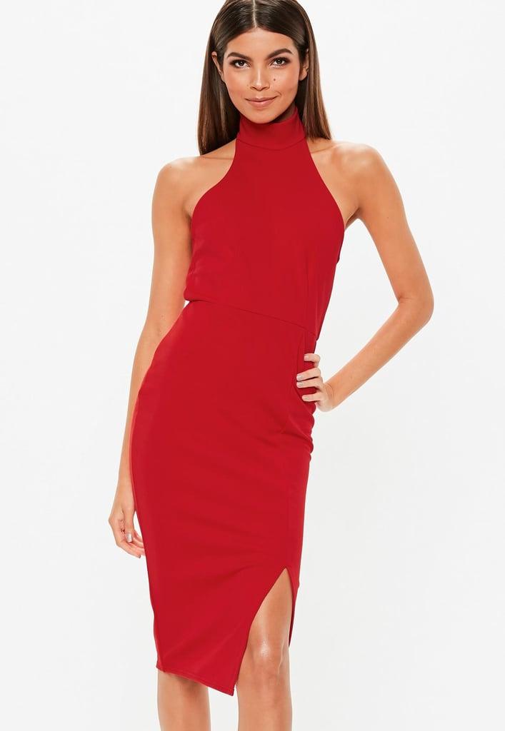 c0a5d1c2ea8 Missguided Red Choker Midi Dress
