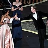 Regina King and Brad Pitt at the 2020 Oscars