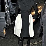 Jennifer Lopez wore a black and white coatdress in London.