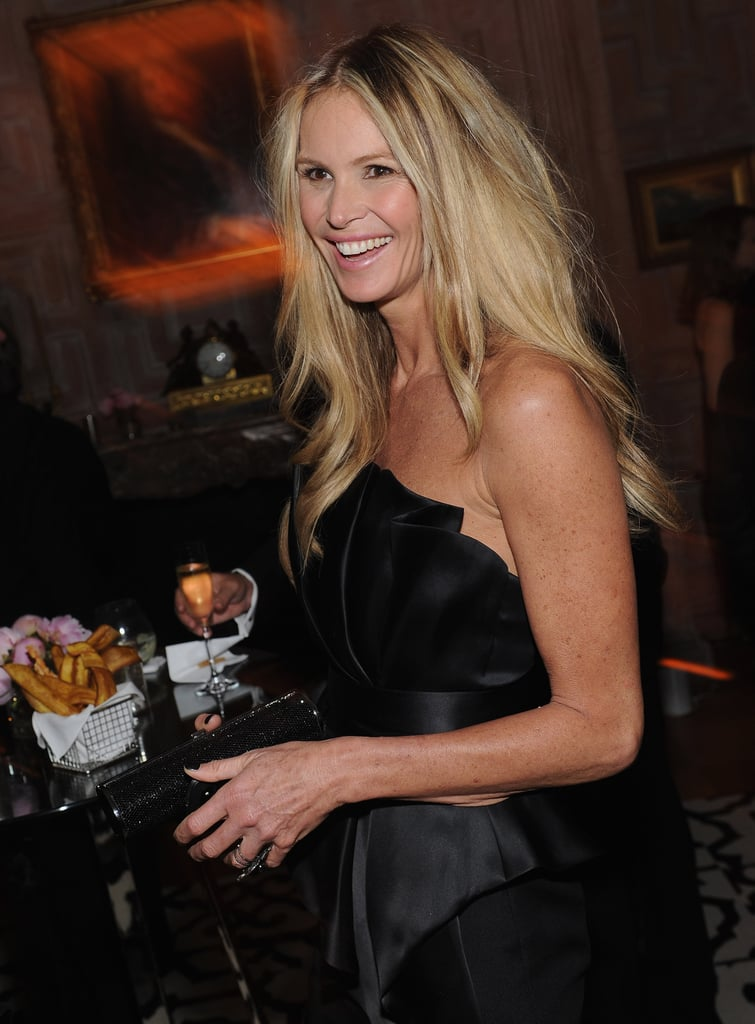 Elle Mcpherson wore a strapless black dress to the White House Correspondant's Dinner.