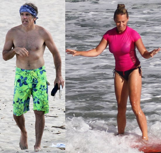 Shirtless Ben Stiller and Christine Taylor Show Off Their Surfing Skills in Hawaii