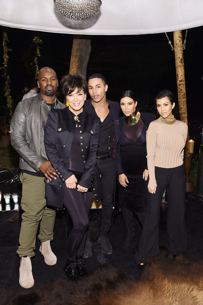 Balmain designer Olivier Rousteing marked his 30th birthday with an over-the-top bash in LA on Friday, and, of course, Kim and Kourtney Kardashian were on hand to celebrate. The ladies, who are close friends with Olivier, were accompanied by their sisters Kendall and Kylie Jenner as well as their mum, Kris Jenner, and her boyfriend, Corey Gamble. Also in attendance was Kylie's other half, Tyga, who performed at the event, and Kate Hudson, who made a jaw-dropping appearance in one of Balmain's designs.  Although Khloé Kardashian did not attend, the Kardashian-Jenner clan made the most of their night, socialising with the likes of Mary J. Blige, Cara Delevingne, and family friends Jaden, Willow, and Jada Pinkett Smith. Kim and Kourtney took to Instagram to share even more snaps from the extravaganza, including a handful of selfies featuring the Smith family. Keep reading to see more pictures from the party, then check out how Kim recently rang in her 35th birthday!