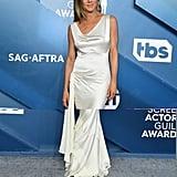 Jennifer Aniston White Silk Slip Dress at the SAG Awards