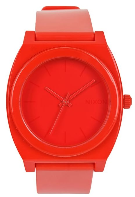 A super pared down shape gets jazzed up in a brilliant tangerine hue.  Nixon Time Teller Watch ($75)