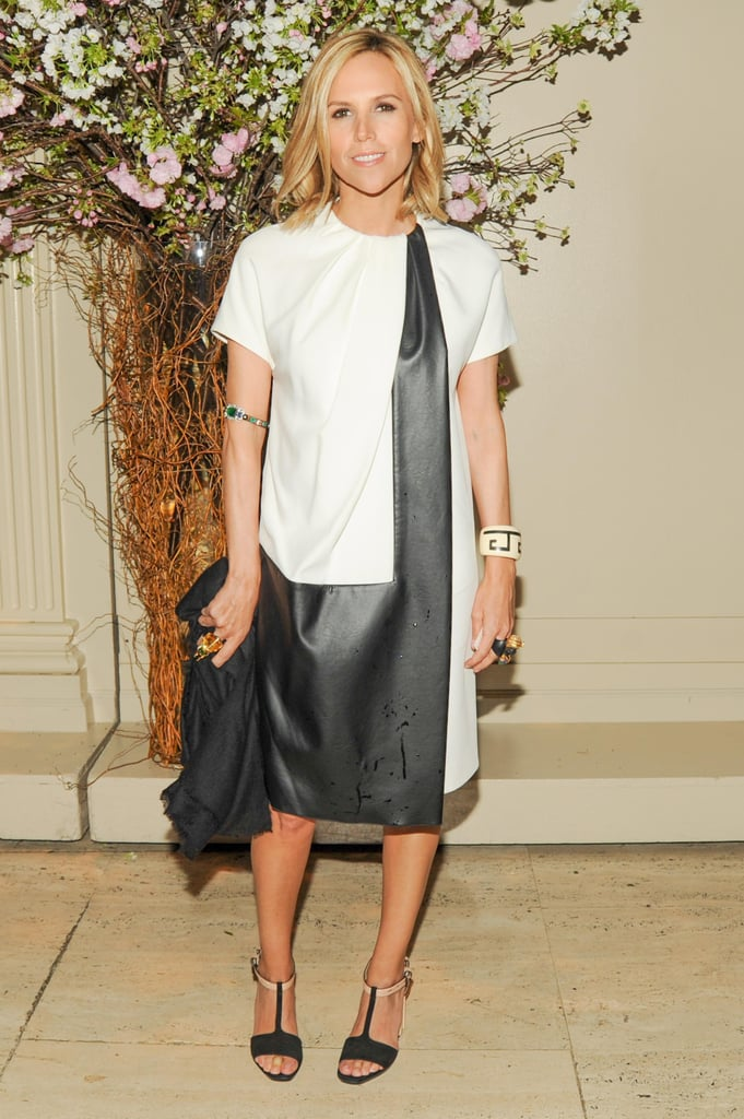Tory Burch went the modernist's route — in terms of styling — at last night's New Museum Spring gala. Her black and white shift dress was a stark contrast to her bejeweled bangles. Source: Neil Rasmus/BFAnyc.com