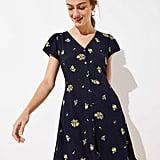 Loft Floral Button Down Flare Dress