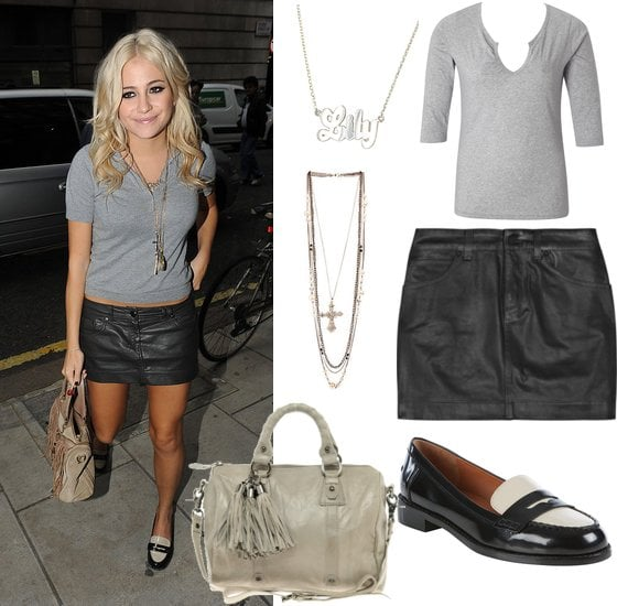 Photos of Pixie Lott in a Leather Mini Skirt and Monochrome Loafers with D&G Bag