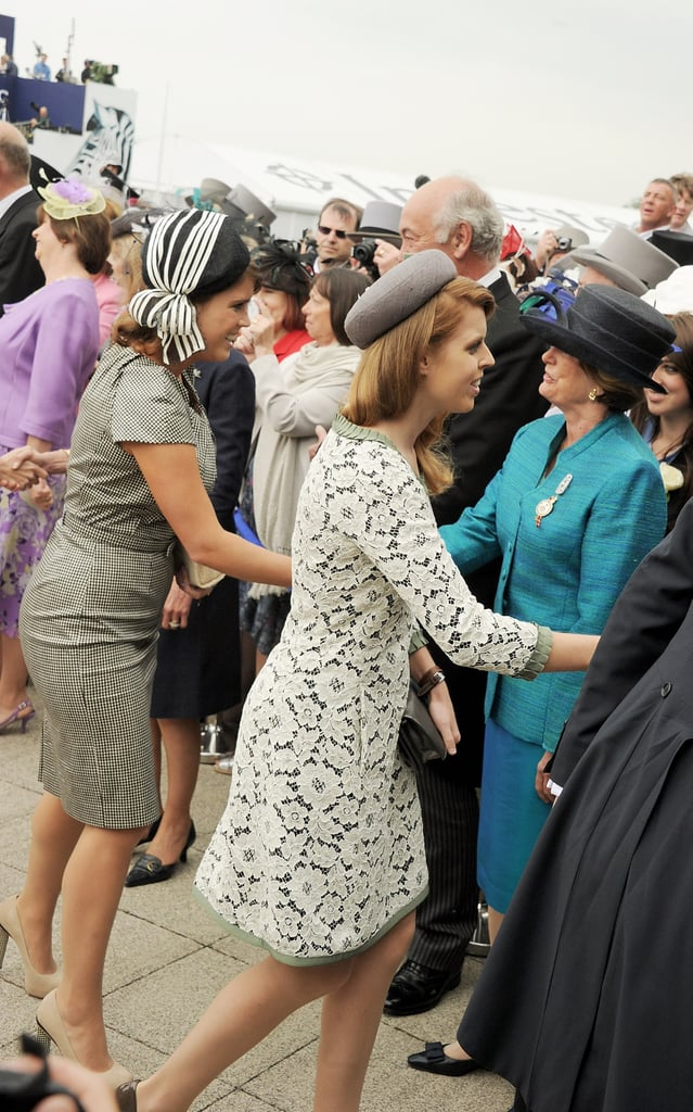 Sisters Eugenie and Beatrice greeted people.