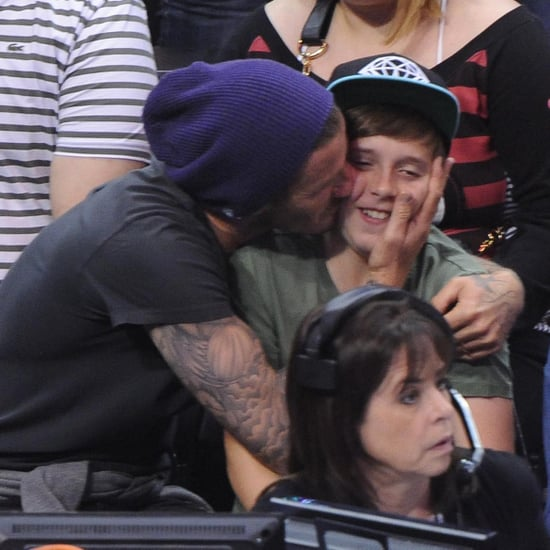 David Beckham Pictures at Clippers Game With Son Brooklyn