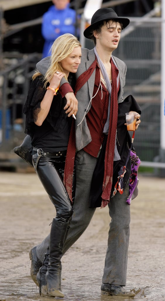 As a musician's main squeeze, Kate did her best rocker dressing. Not one to let something like mud slow her down, she stepped out in spiked booties and patent leather pants in 2007.