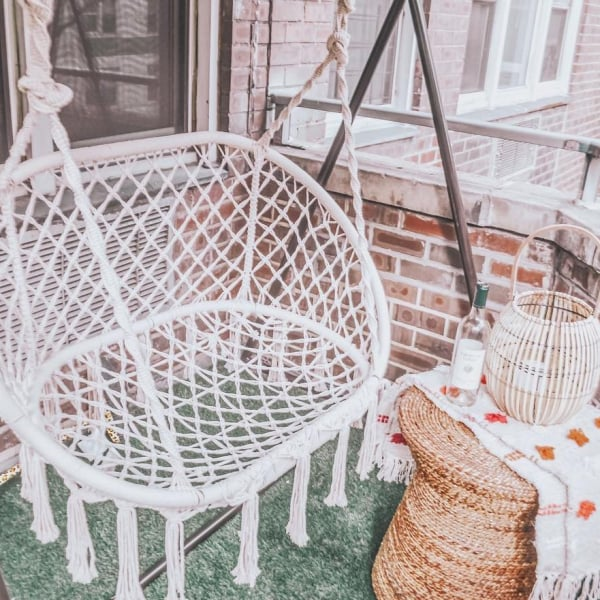 Natural Macrame Double Saucer Swing