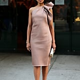 Kerry Washington delivered quiet drama in her sandy one-shouldered, knee-length dress and matching tan pumps at an Elle and Tod's party in NYC.  David X Prutting/BFAnyc.com