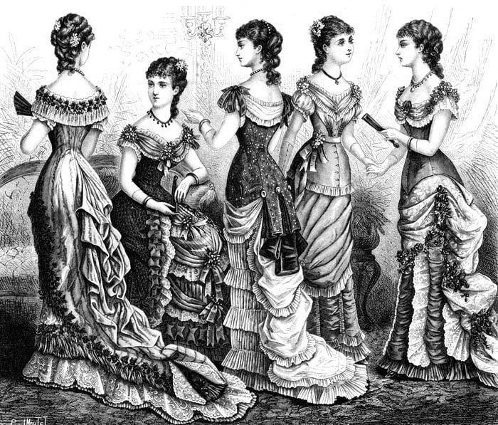 Corsets went out of fashion during the popularity of the high-waisted empire style in the late 1700s, but they came back in a new hourglass form during the Victorian era.