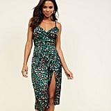 New Look Green Satin Leopard Print Wrap Dress