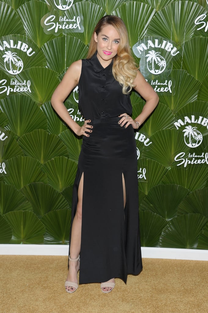 Lauren was the picture of sexy sophistication at a Malibu Rum event in May — she wore a black collared dress with two thigh-high slits, which she paired with nude sandals and hot-pink lipstick. Lesson from Lauren: make your monochrome look standout by incorporating a dash of sex appeal — like the perfectly placed slits in Lauren's maxi skirt.