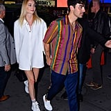 Sophie Turner in an Oversized White Button-Down and Sneakers in 2019