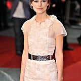 Keira Knightley wore a lace dress to the premiere.