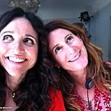 Julia Louis-Dreyfus leaned on Nicole Holofcener on the set of the director's upcoming film. Source: Julia Louis-Dreyfus on WhoSay