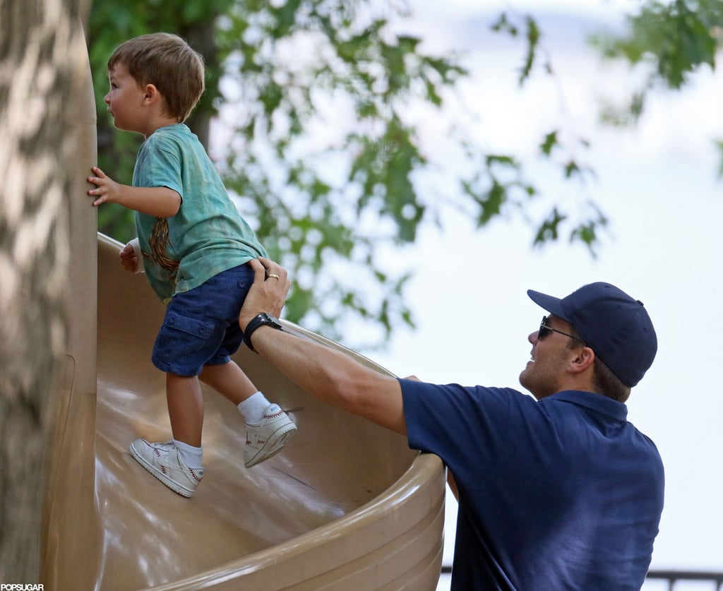 Tom Brady helped Benjamin run up the slide.