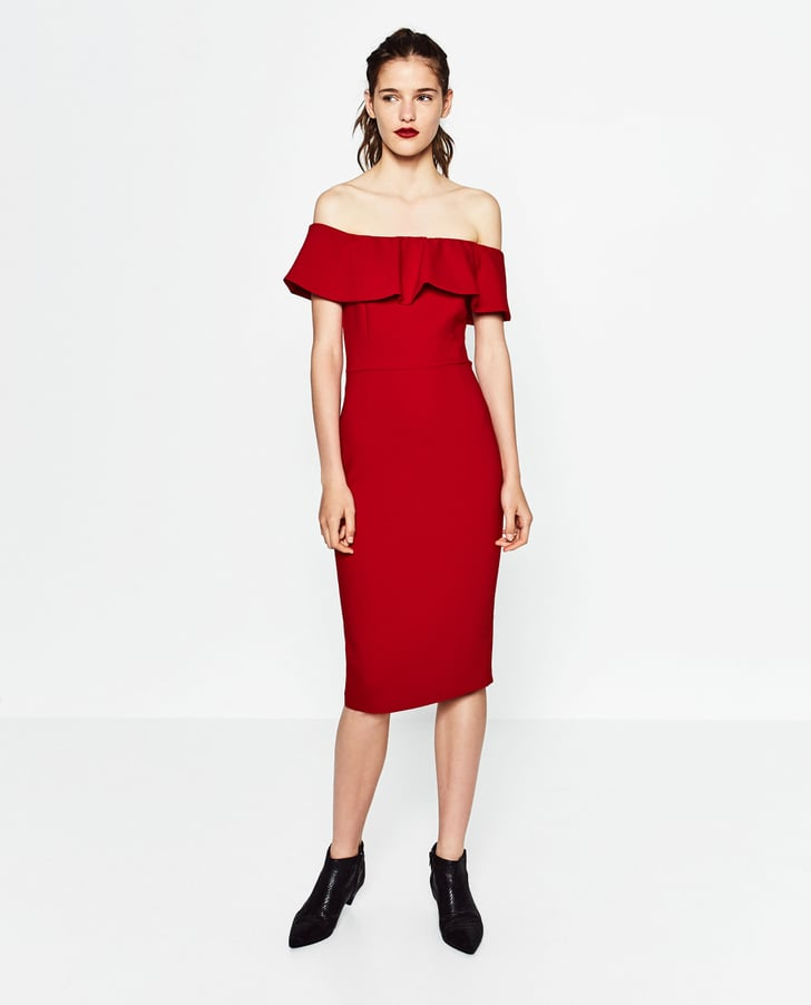 Zara off the shoulder dress 70 best wedding guest for Best wedding guest dresses