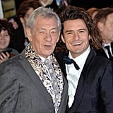 Orlando Bloom and Ian McKellen posed together at the world premiere of The Hobbit: The Battle of Five Armies in London on Monday.