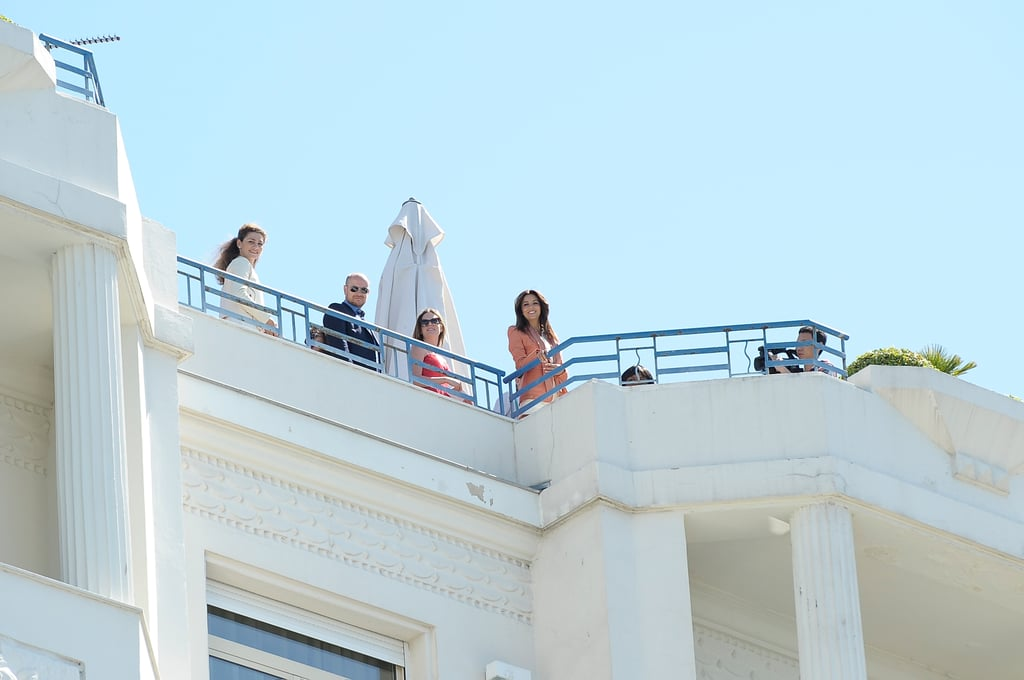 Eva Longoria was on top of a hotel in Cannes for a L'Oreal photo shoot.