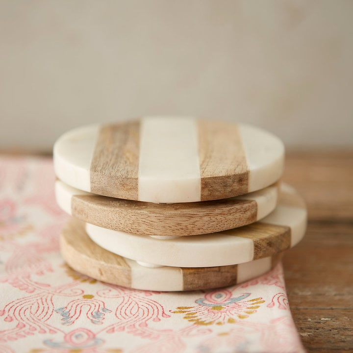Marble & Wood Coasters, Set of 4 ($48)