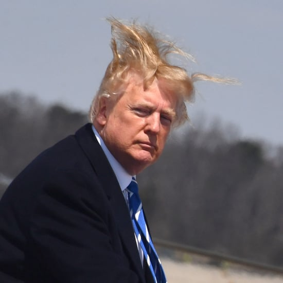 Trump's Hair Blowing While Boarding Air Force One Plane