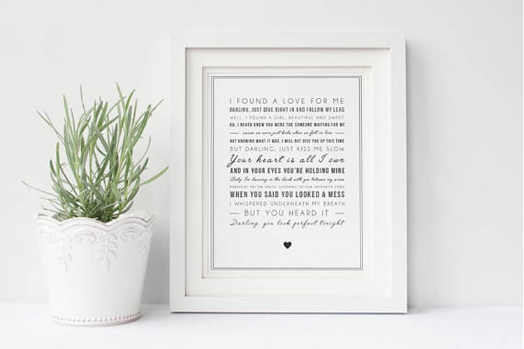 Perfect song lyrics print gifts for ed sheeran fans popsugar perfect song lyrics print stopboris Image collections