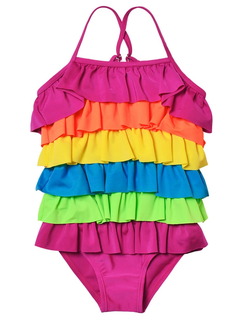 34574ece0d969 Ruffled Rainbow Striped Bathing Suit