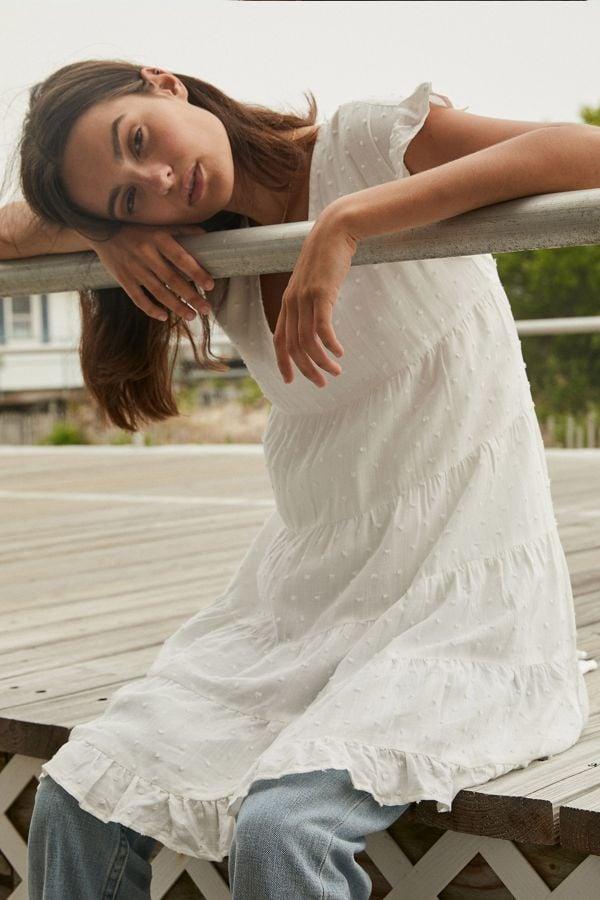 UO Textured Tiered Ruffle Babydoll Dress