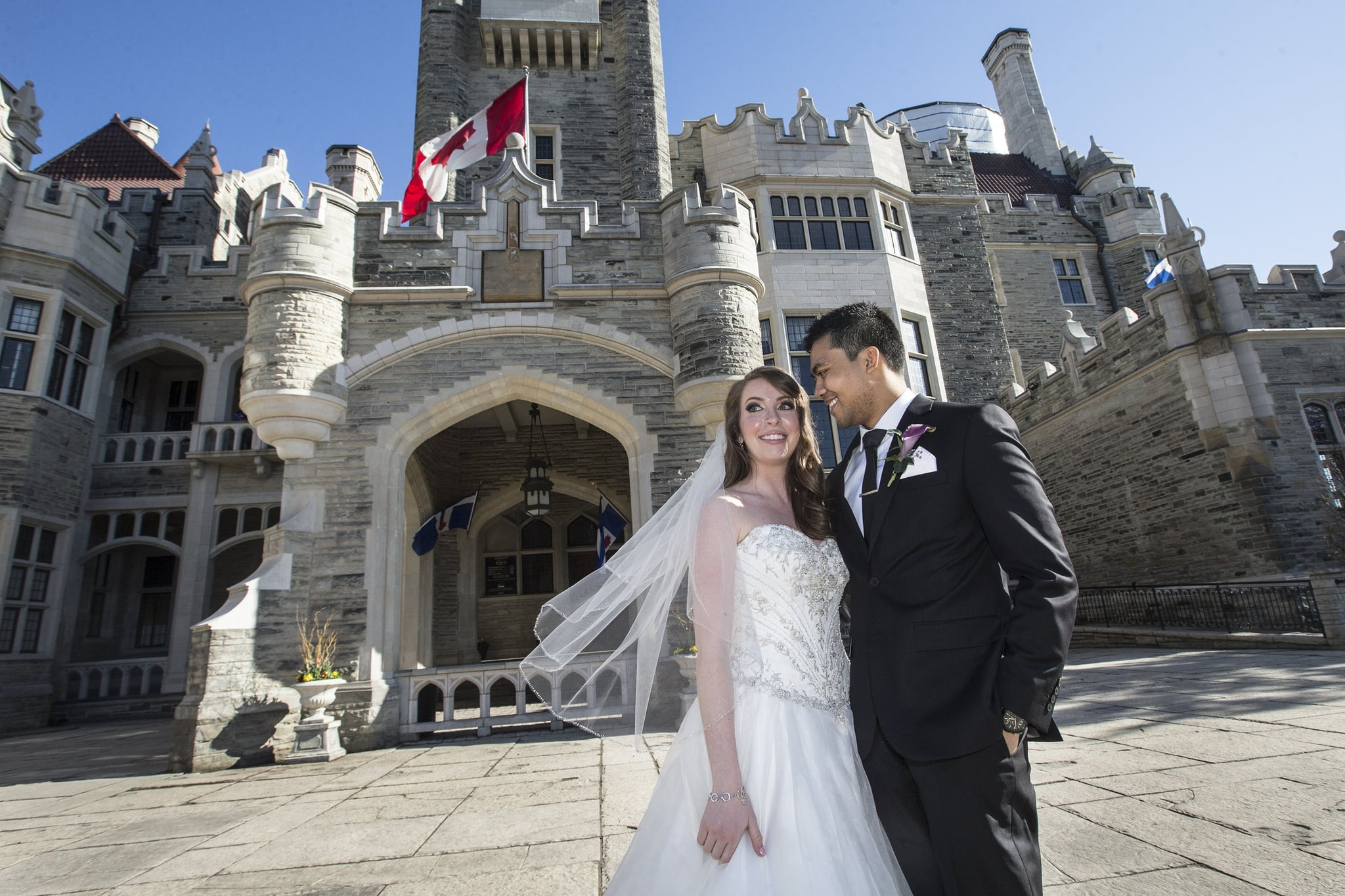 TORONTO, ON - APRIL 11:  Chef Solomon Chau and Jenn Carter pose outside Casa Loma for their surprise wedding. Chau has terminal cancer.        (Bernard Weil/Toronto Star via Getty Images)